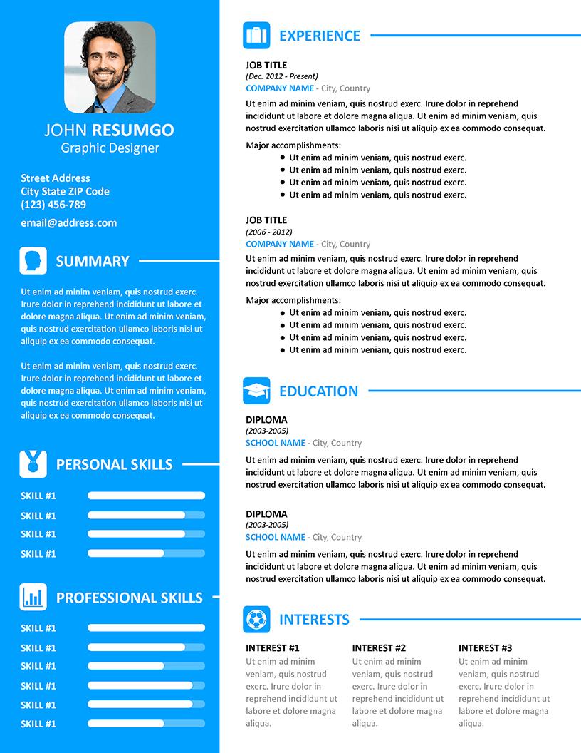 Vasilis Modern Resume Template Resumgo Com