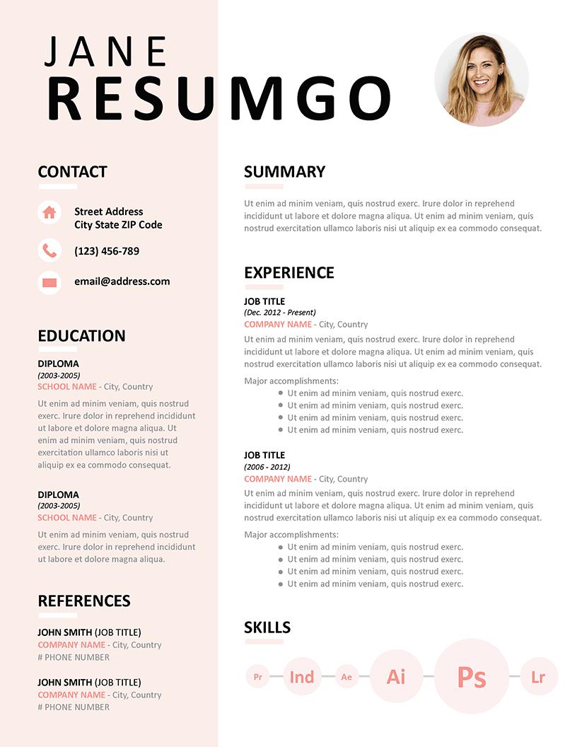 EUDORA - Pink Resume Template - ResumGO.com
