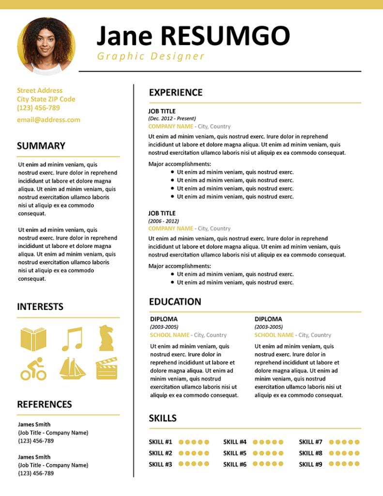 KALLIAS - Free Contemporary Resume Template - RESUMGO