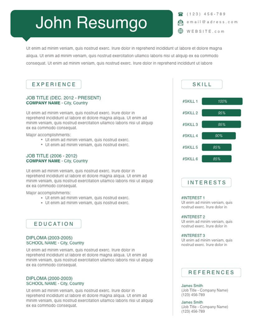 Myron - Free Resume Template - RESUMGO