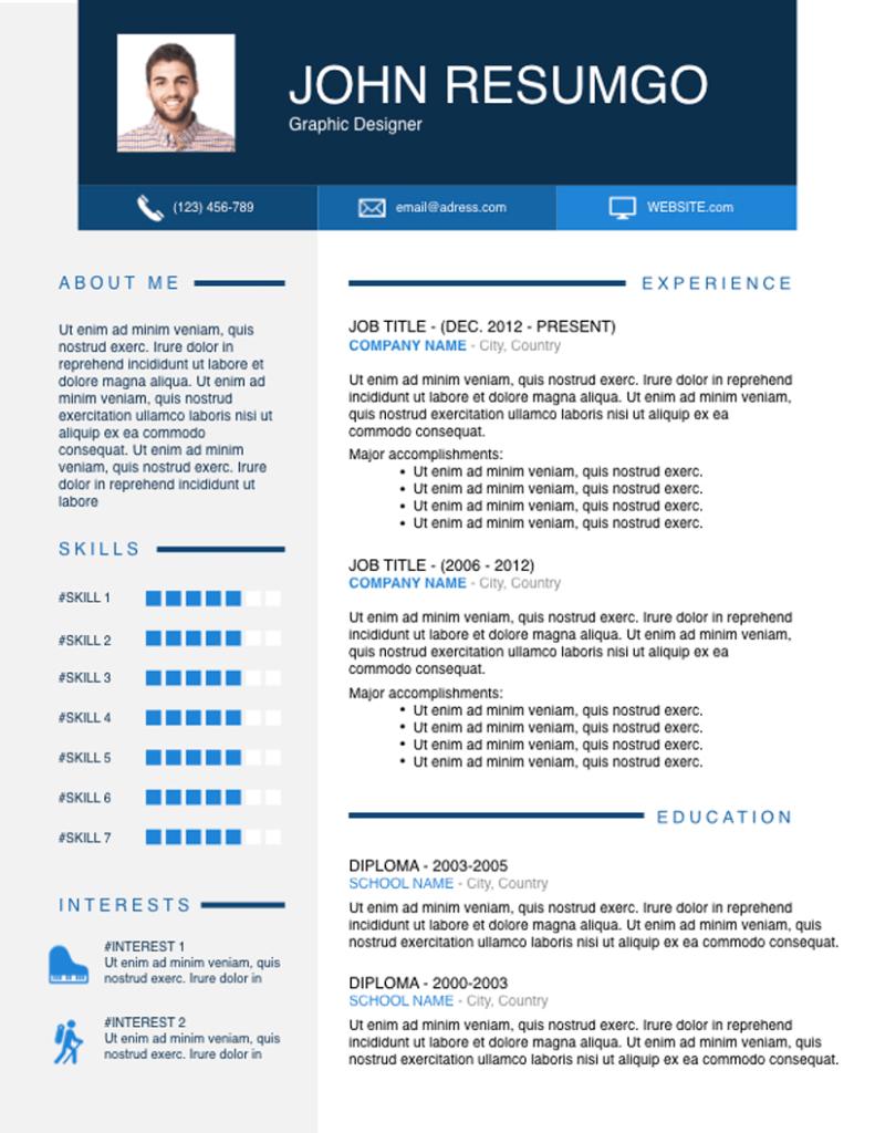 Ophelos - Free Resume Template - ResumGO
