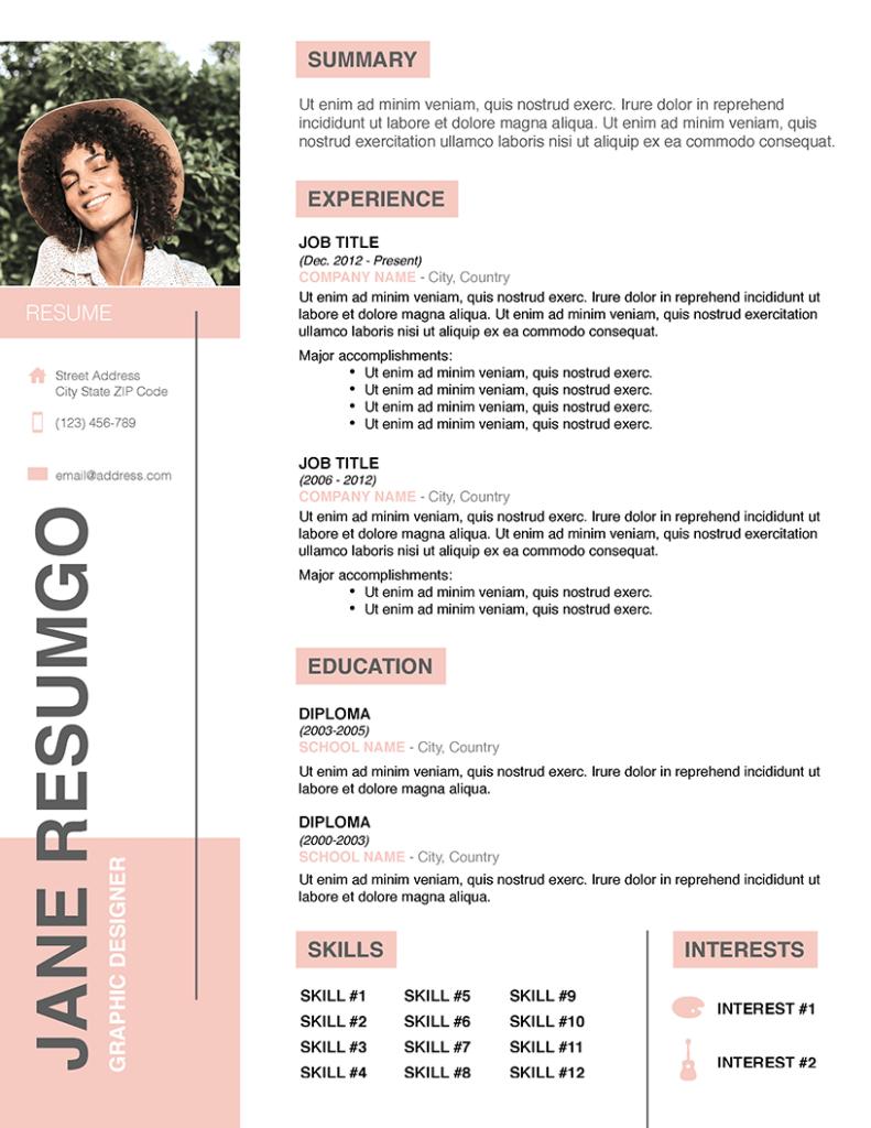PARIS - Free Femine Resume Template - RESUMGO