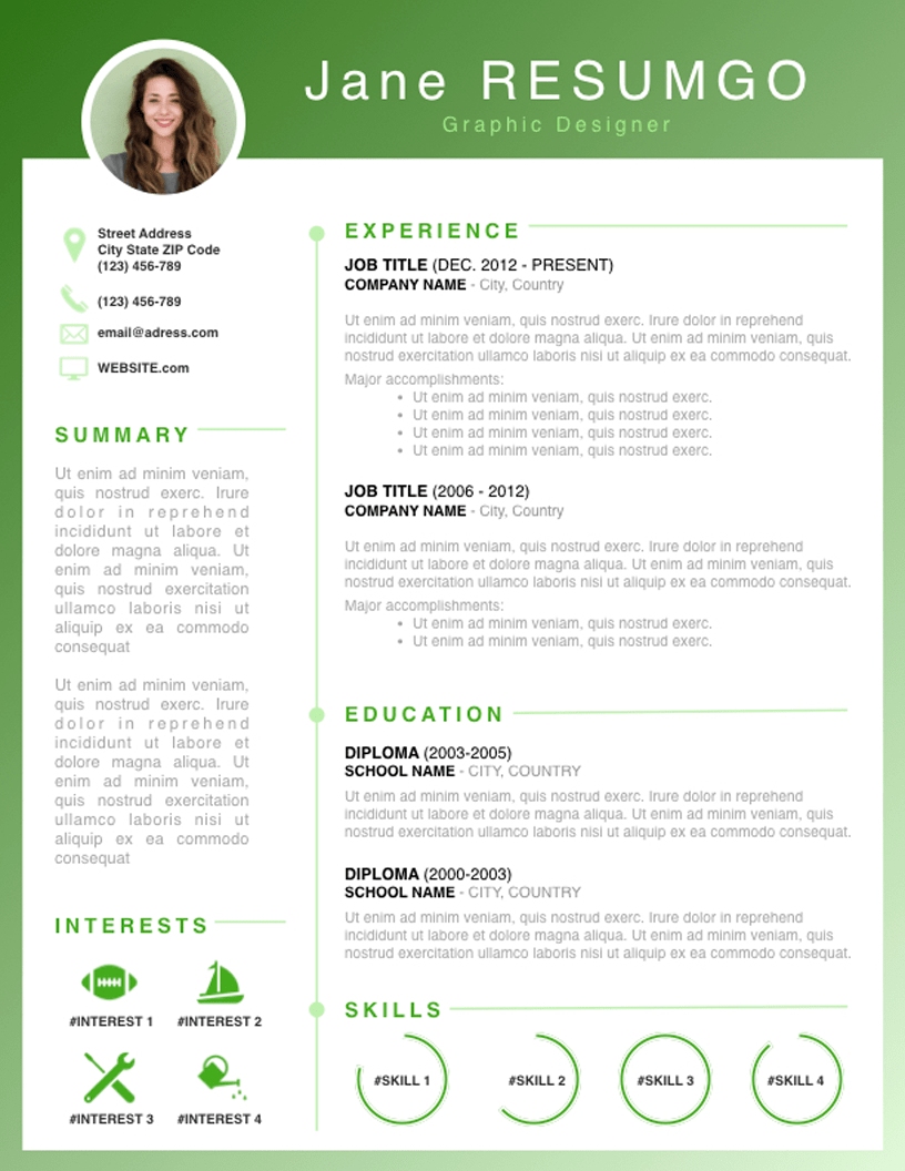 RHODA - Free Resume Template - RESUMGO