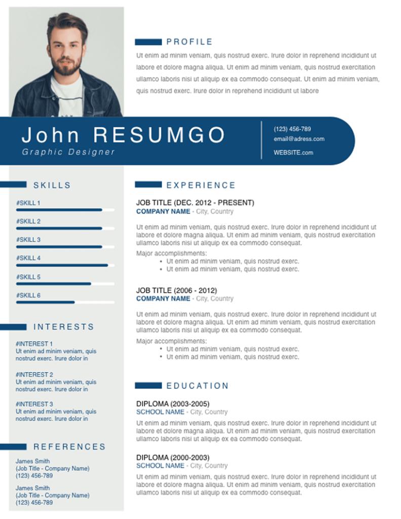 THERON - Free Resume Template - RESUMGO