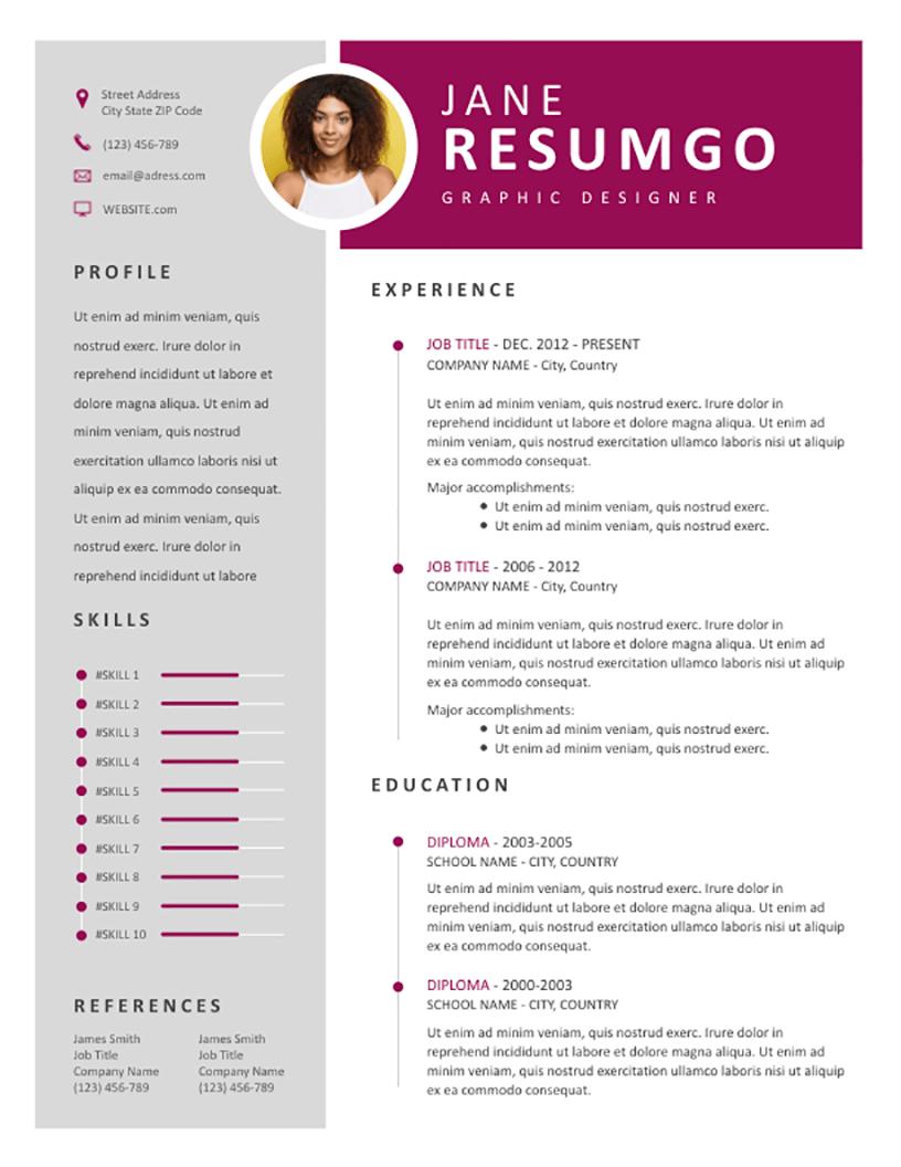 efimia  u2013 professional magenta resume template