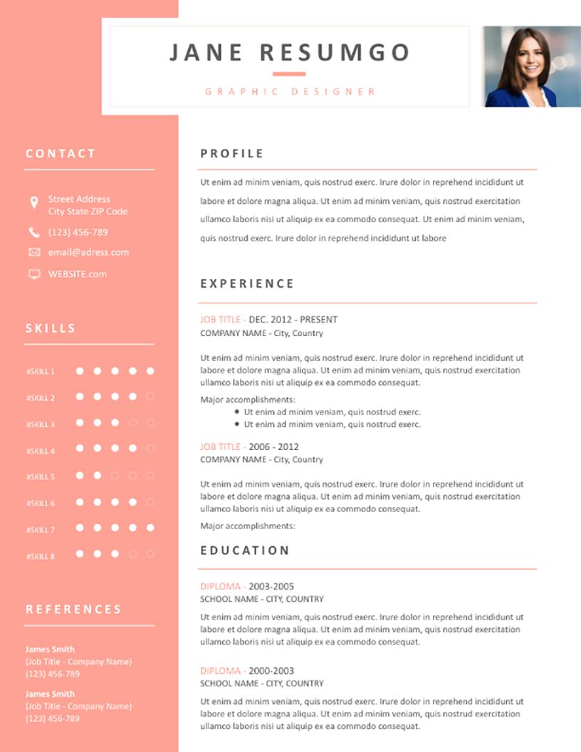 Leda - Free Resume Template - RESUMGO