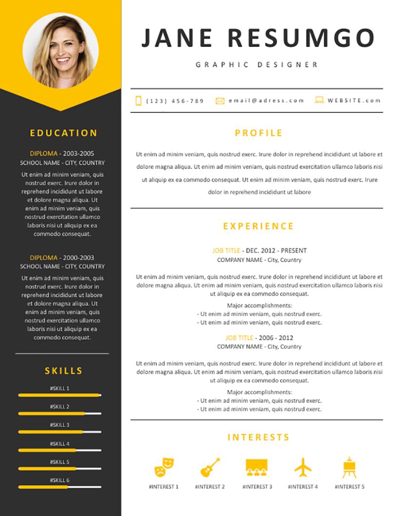 medeia  u2013 gray and yellow resume template