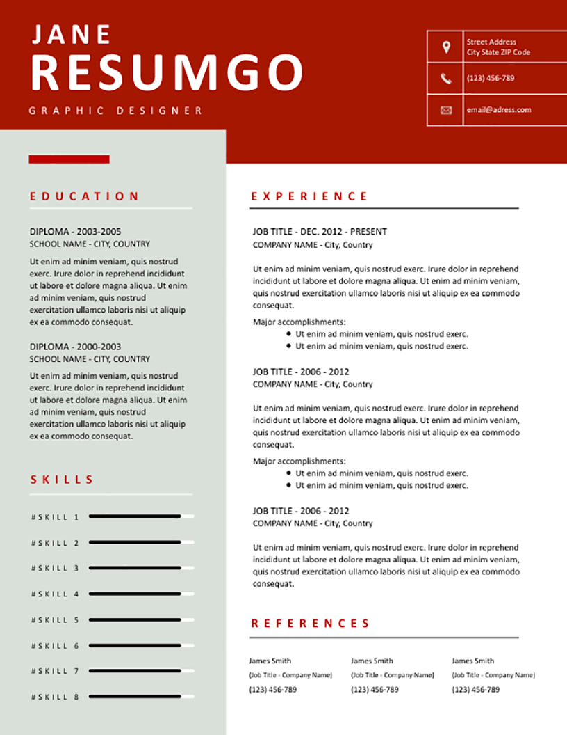 Phaidra - Free Resume Template - RESUMGO