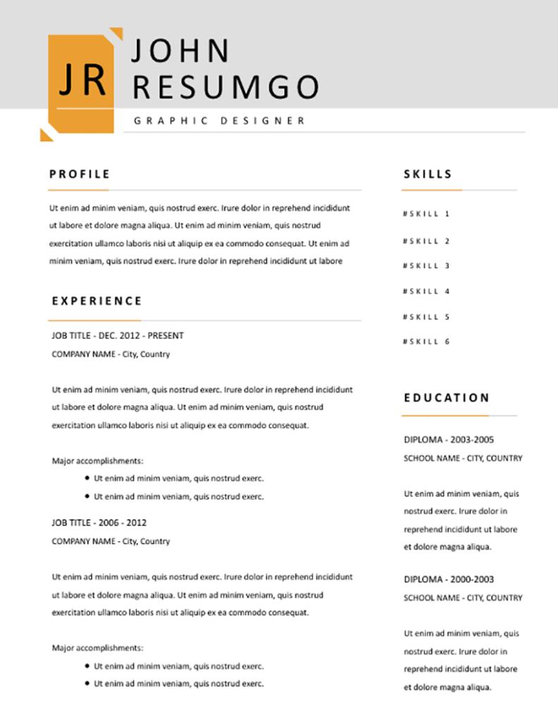 Xerxes - Free Resume Template - RESUMGO