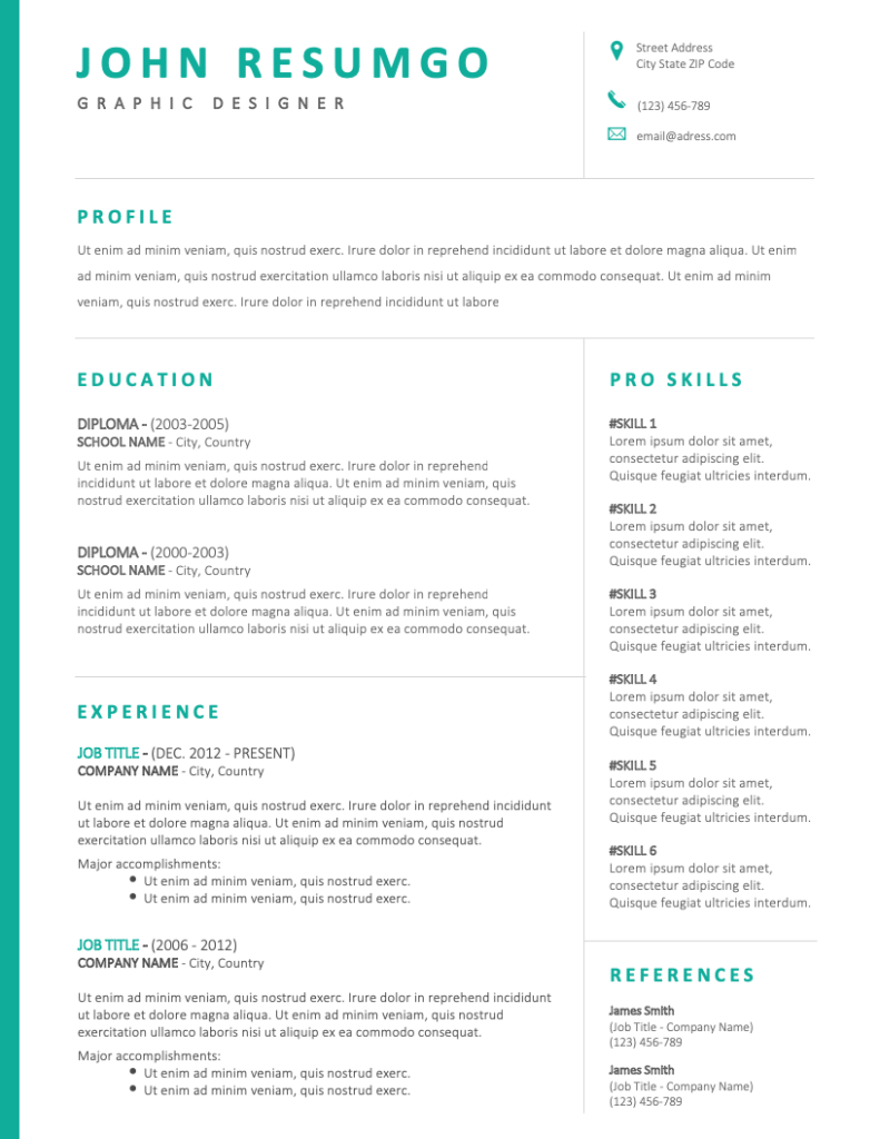 BAKCHOS - Free Resume Template - RESUMGO