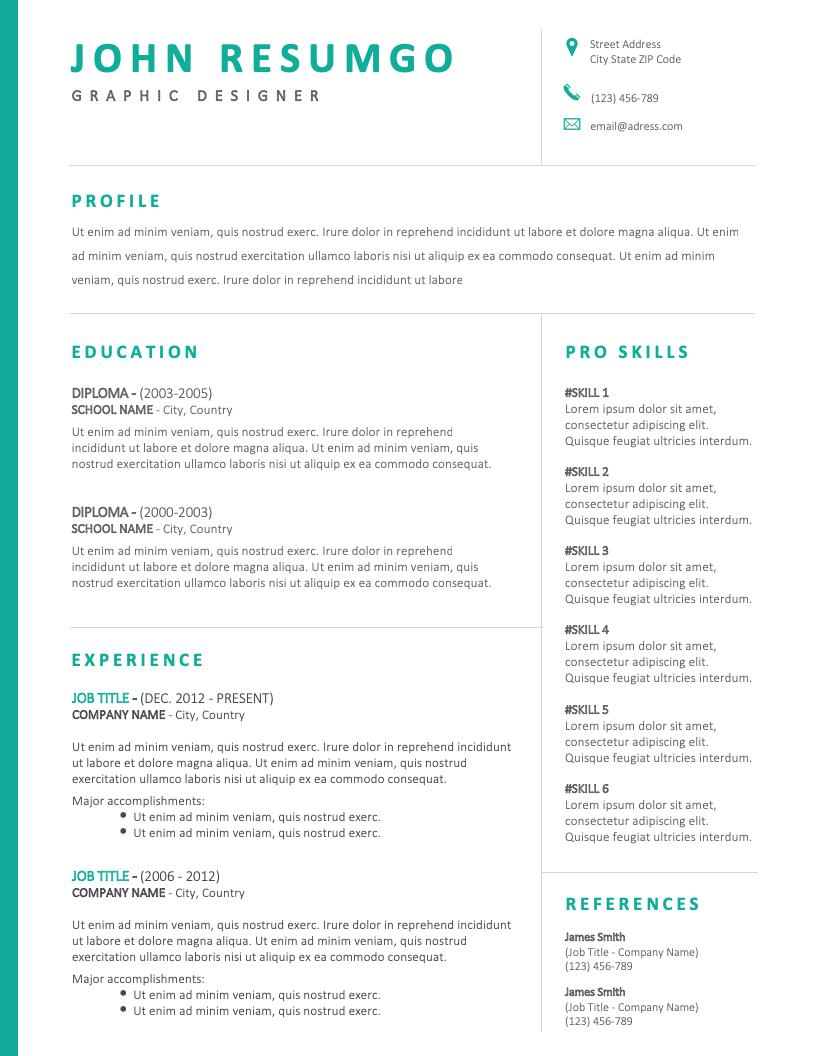 Bakchos Professional Resume Template Resumgo Com