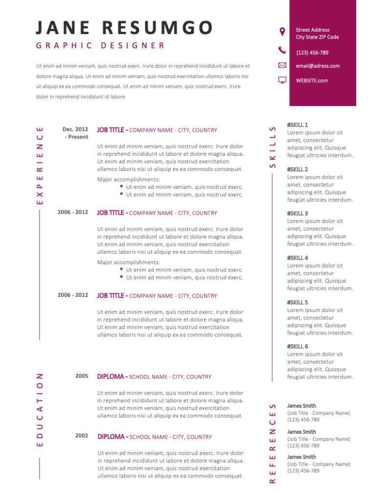 KORE - Free Resume Template - RESUMGO