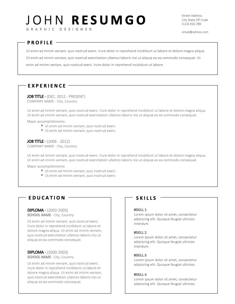 MILTIADES - Free Resume Template - RESUMGO