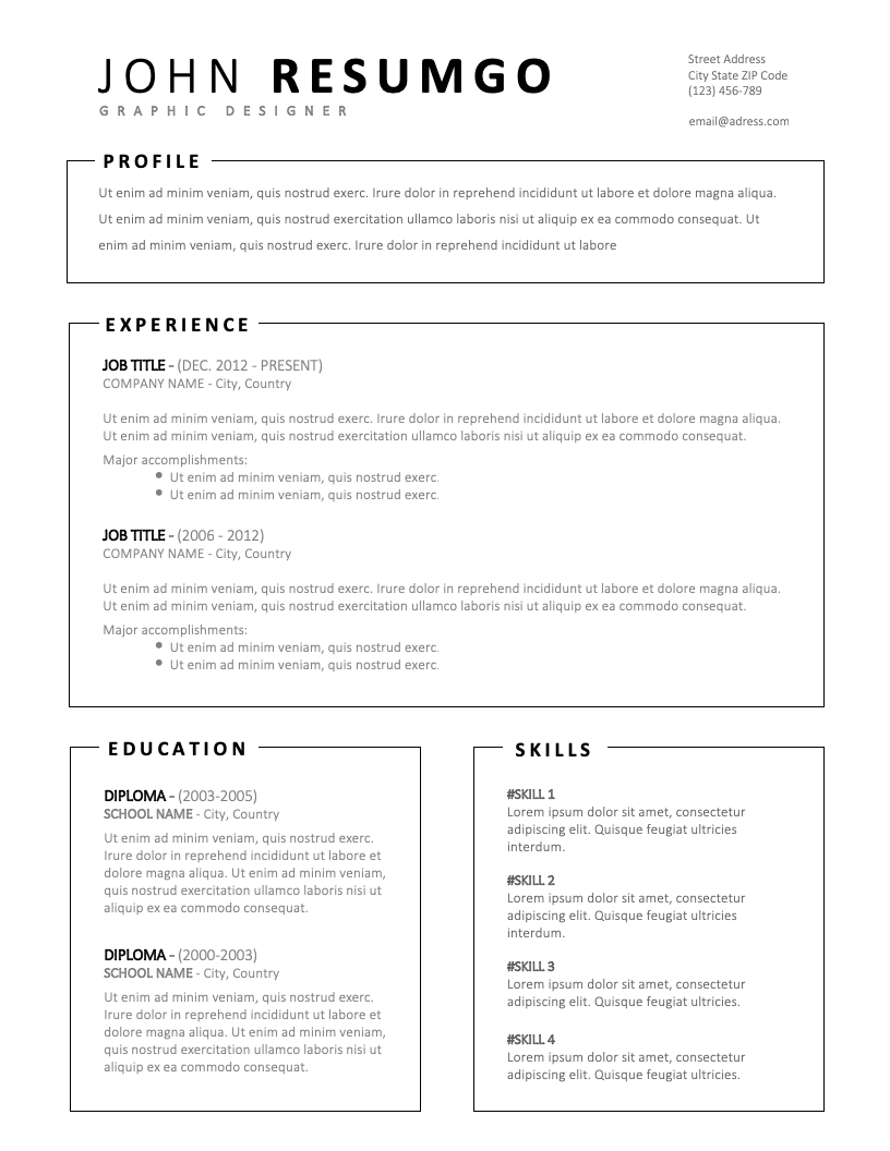 MILTIADES – Simple Resume Template with Framed Parts ...