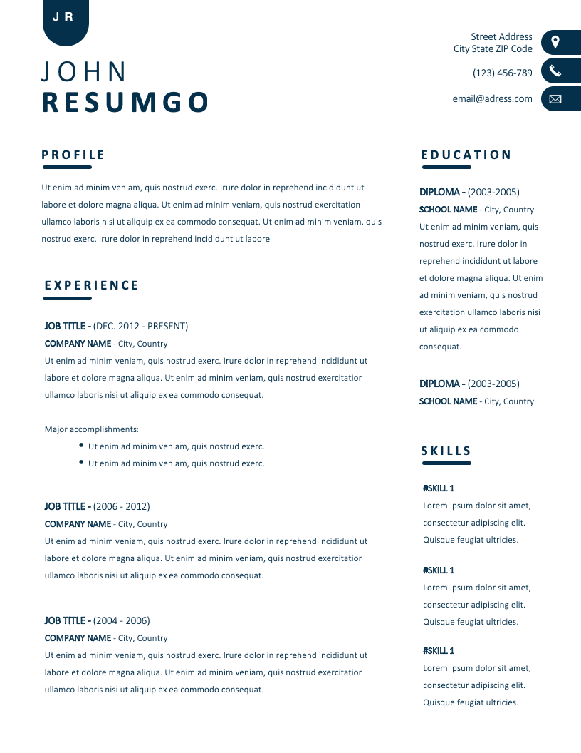 Nyx Contemporary Simple Resume Template Resumgo Com