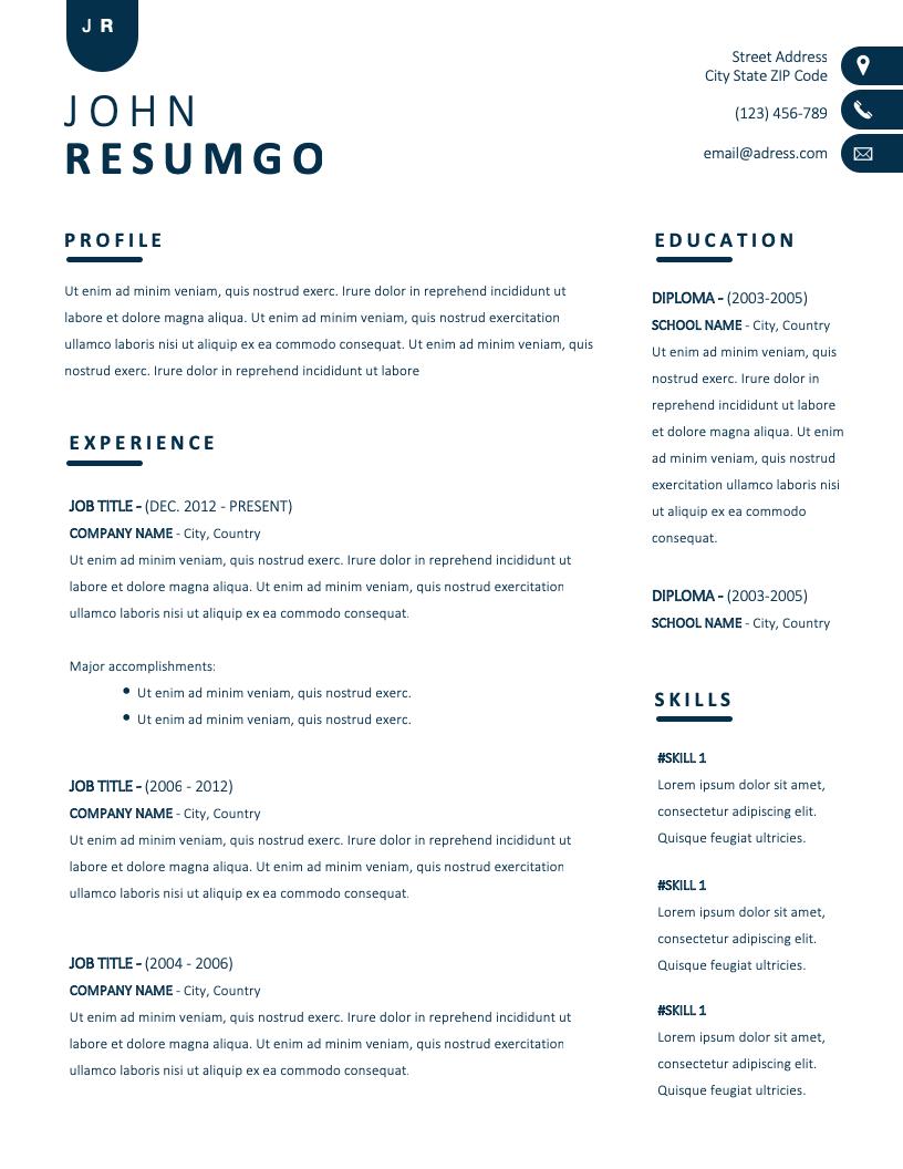 NYX – Contemporary Simple Resume Template - ResumGO.com