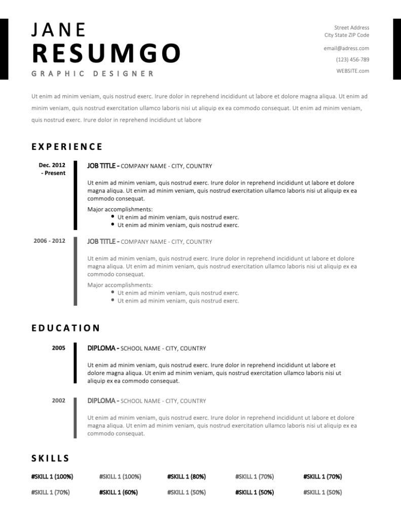 TIMO - Free Resume Template - RESUMGO
