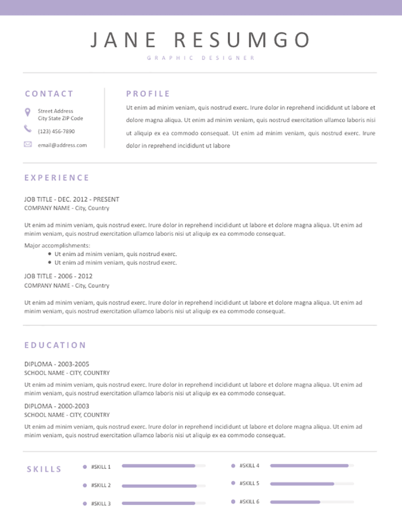 DAMALI - Free Resume Template - RESUMGO