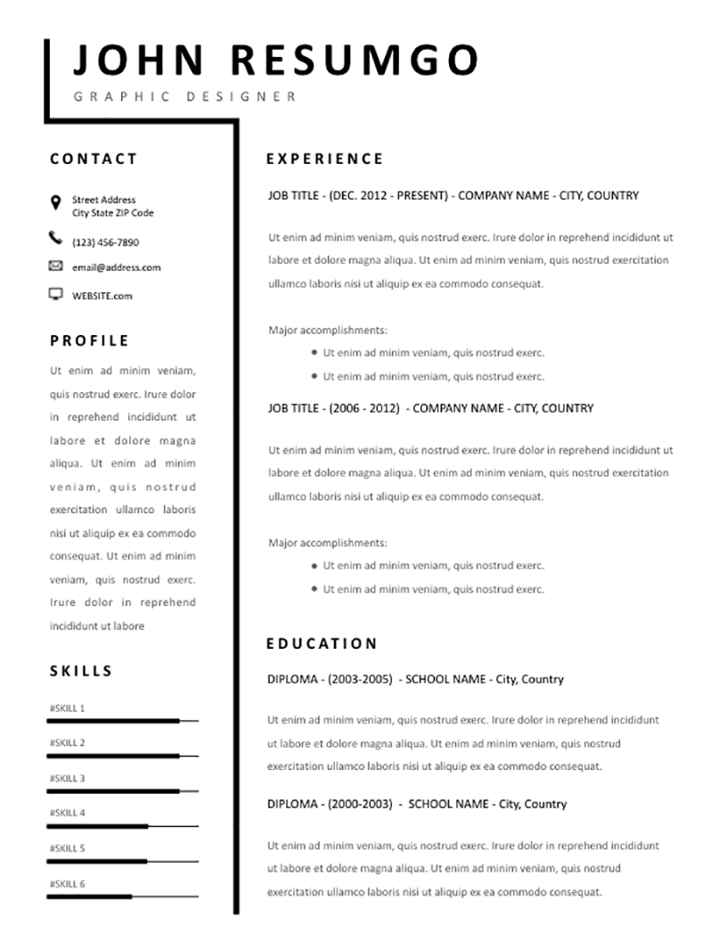 Smeme Simple Two Column Resume Template Resumgo Com
