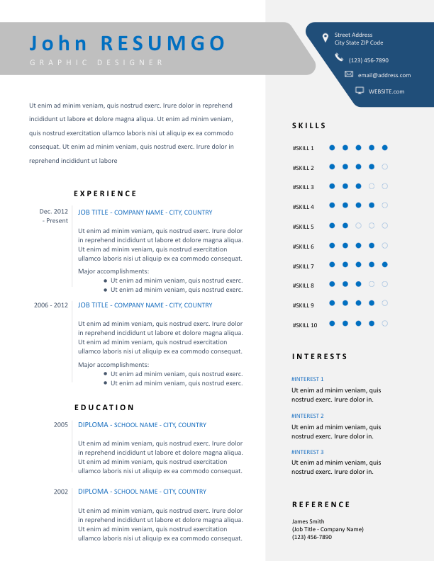 DESMA - Free Resume Template - ResumGO
