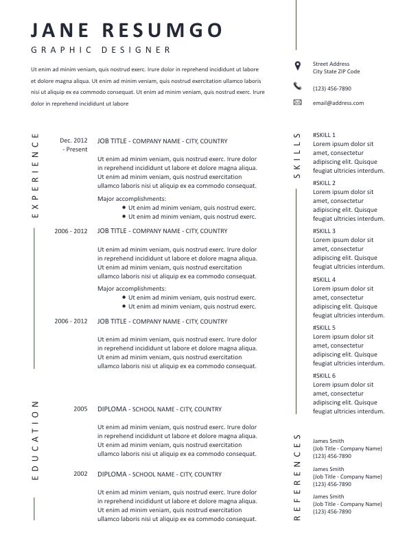 KLOTHO - Free Resume Template - ResumGO