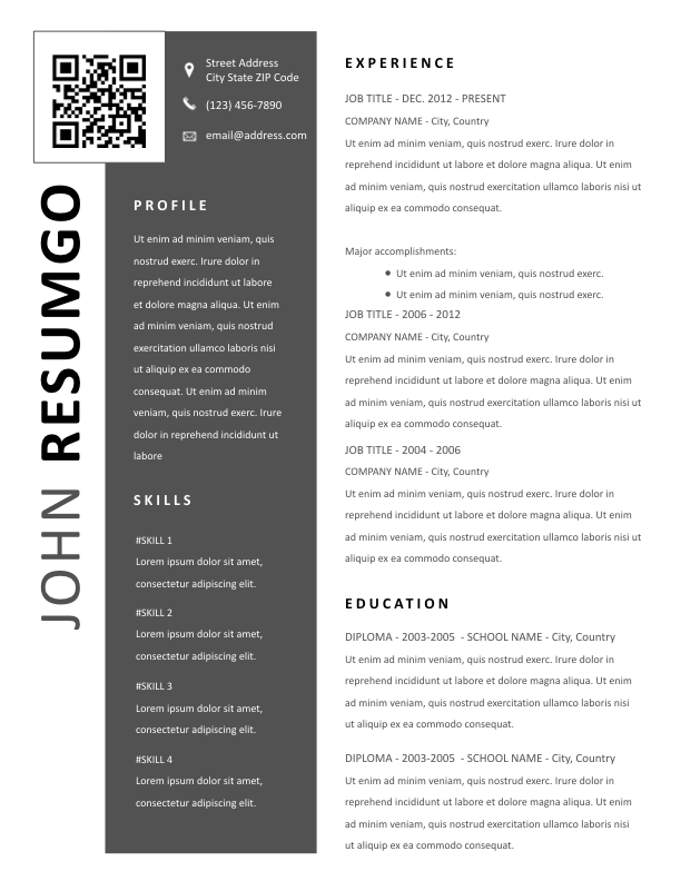 ptolema  u2013 modern resume template with qr code