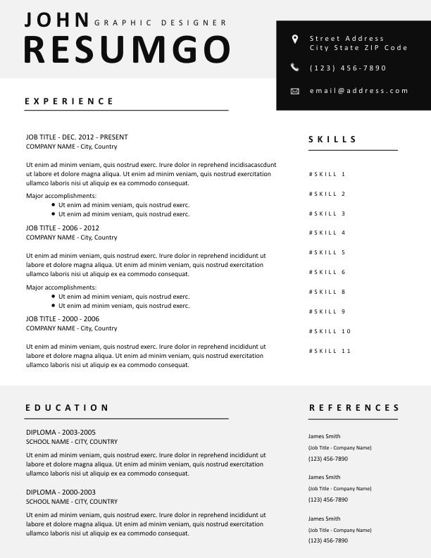 ROXANE - Free Resume Template - ResumGO