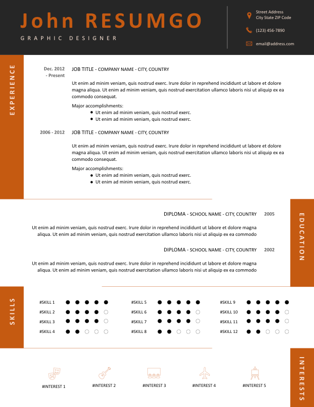 TEDORA - Free Resume Template - ResumGO