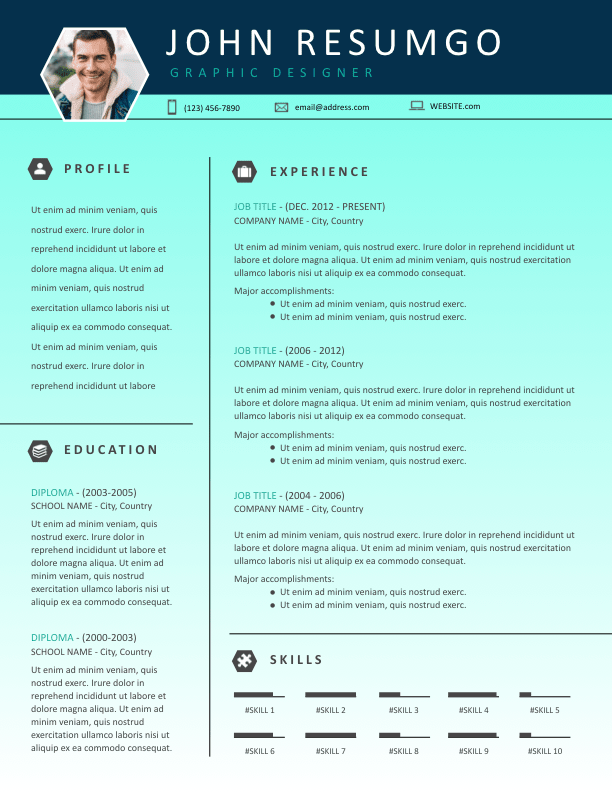 alecto  u2013 teal gradient stylish resume template