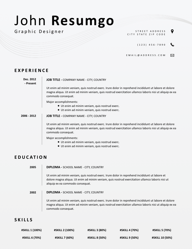 EUMELIA - Free Resume Template - ResumGO