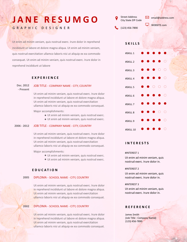 FRONA - Free Resume Template - ResumGO