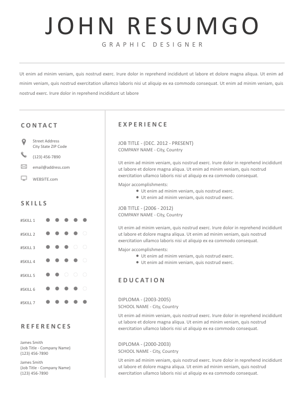 HEBE - Free Resume Template - ResumGO