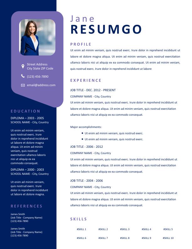 PENELOPE - Free Resume Template - ResumGO