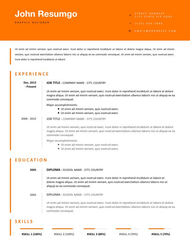TAKIS - Free Resume Template - ResumGO