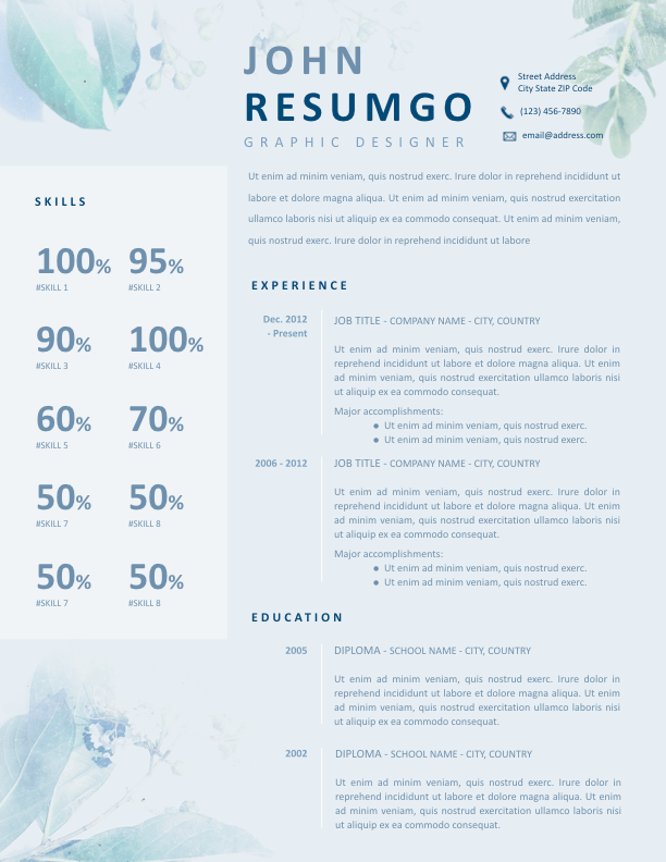 ZONA - Free Resume Template - ResumGO