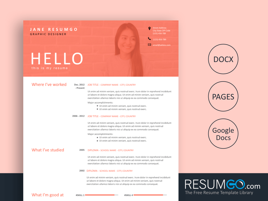 AGUEDA - Free light Pink Banner Resume Template - ResumGO