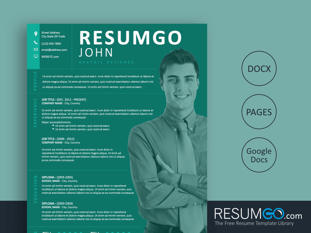 AJAX - Free Full Pine Green Background Resume Template - ResumGO