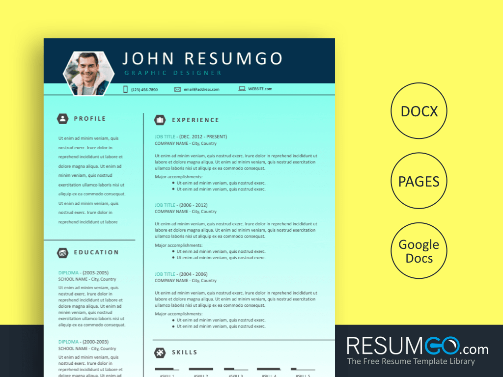 ALECTO - Free Teal Gradient Resume Template - ResumGO