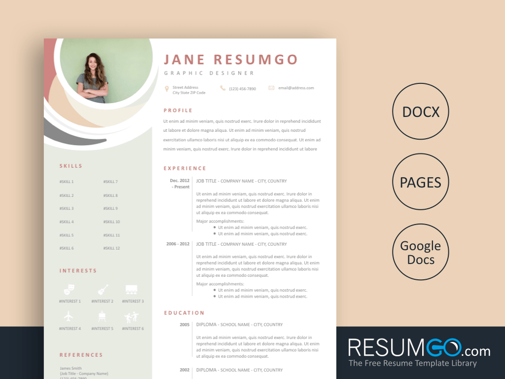 ALES - Free Elegant and Pastel Resume Template - ResumGO