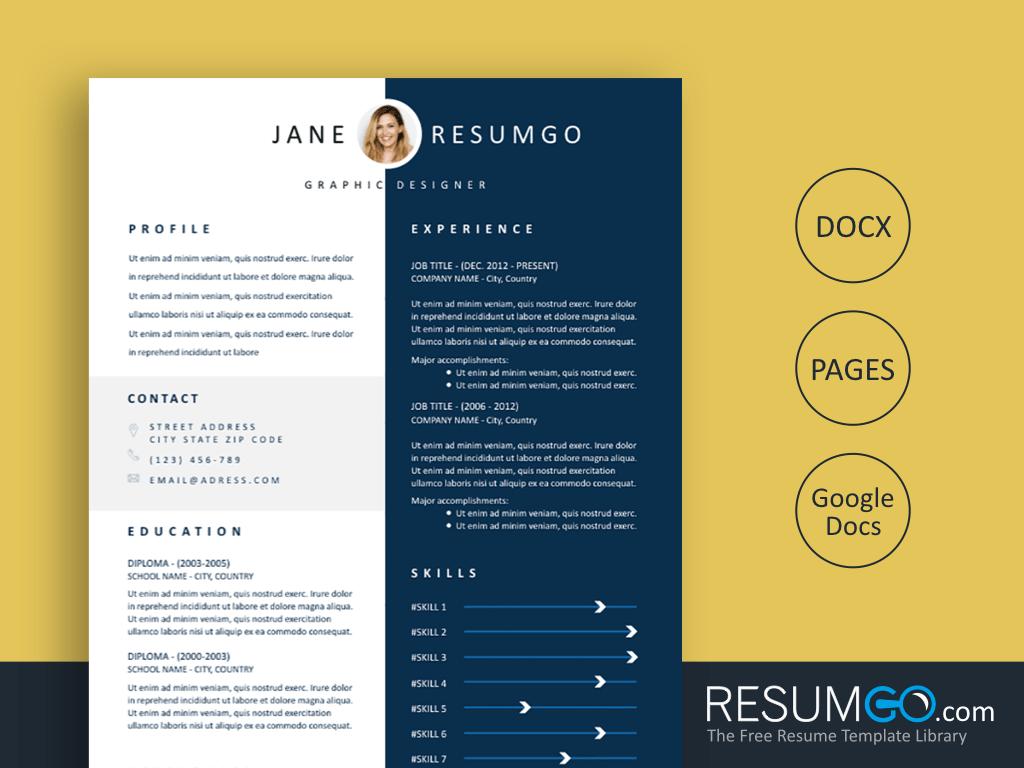 ALETHEA - Free Blue Polarized Resume Template - ResumGO