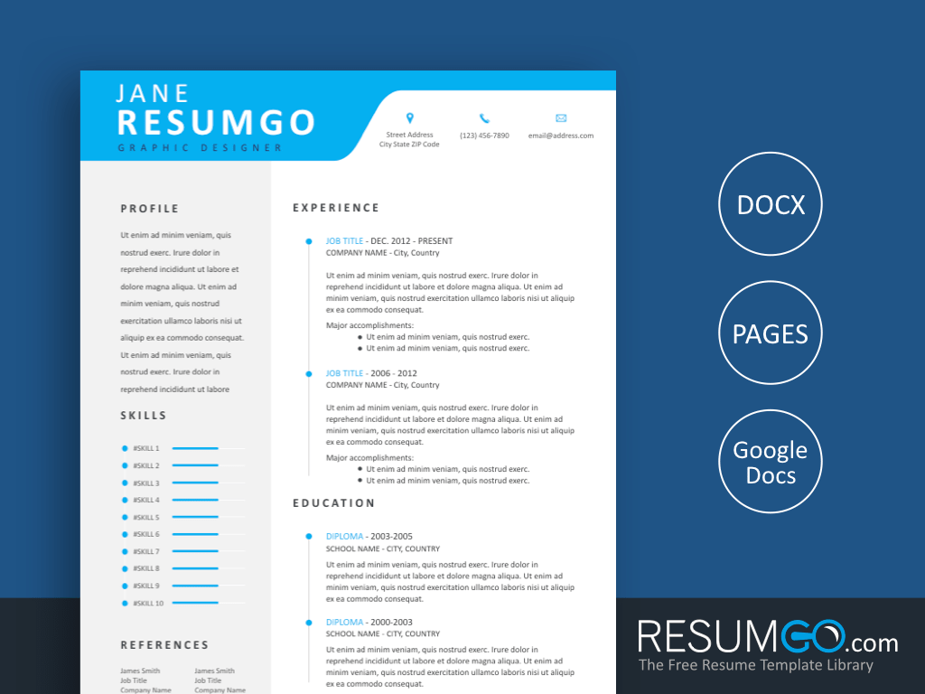 ALEXIUS - Free Modern Professional Resume Template - ResumGO