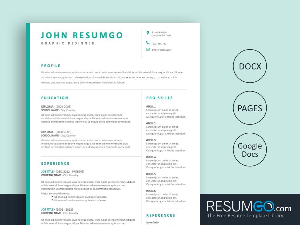 BAKCHOS - Free Aqua Professional Resume Template - ResumGO