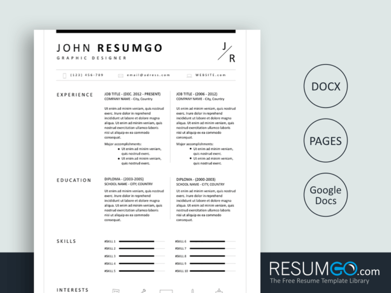 BION - Free Classic and Simple Resume Template - ResumGO