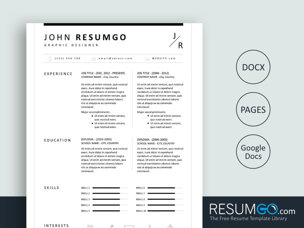 Bion Classic Resume Template Resumgo Com