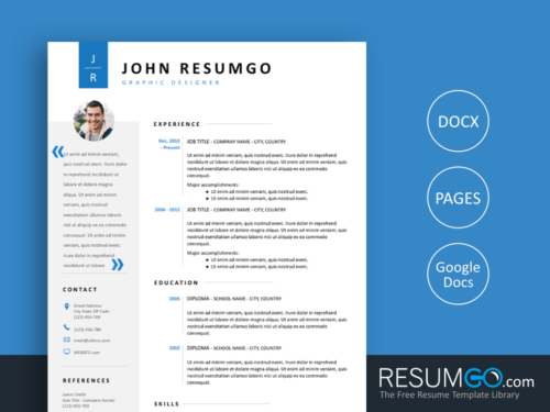 CADMUS - Free Gray and Blue Clean Resume Template - ResumGO