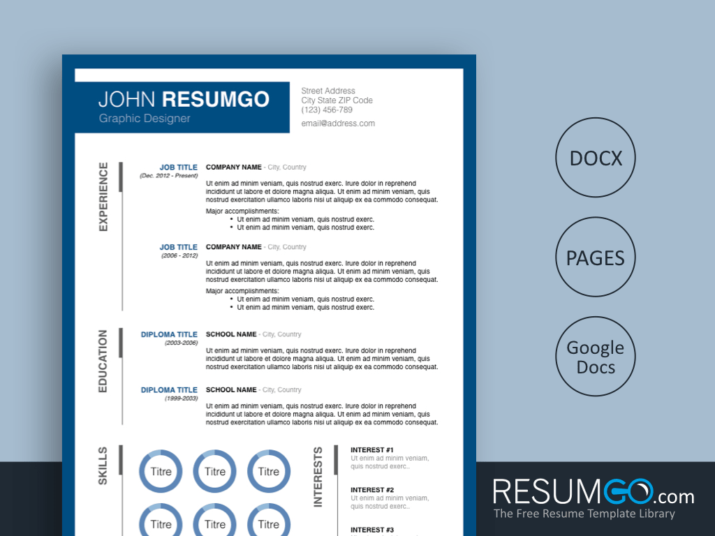 CALISTO - Free Blue Framed Resume Template - ResumGO