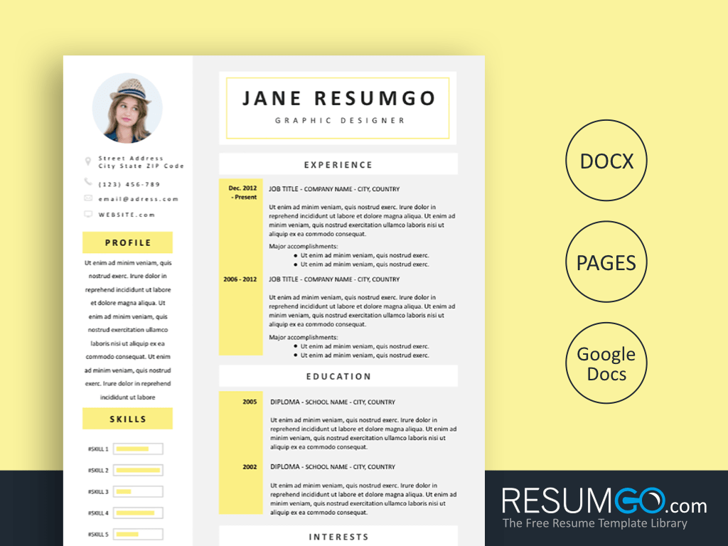 CELANDINE - Free Flavescent Resume Template - ResumGO