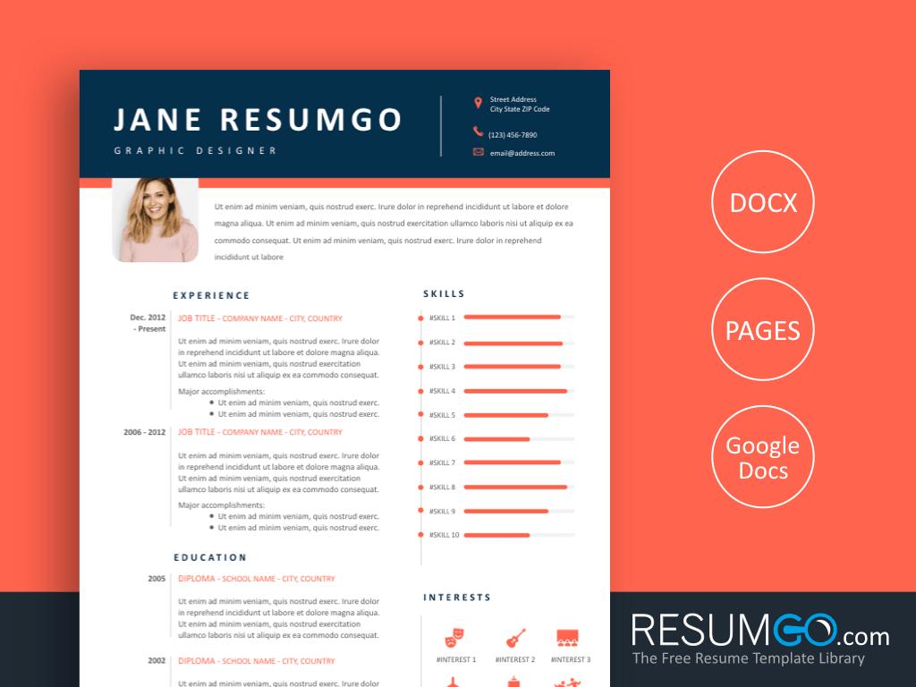 CHRYSEIS - Free Professional Modern Resume Template - ResumGO