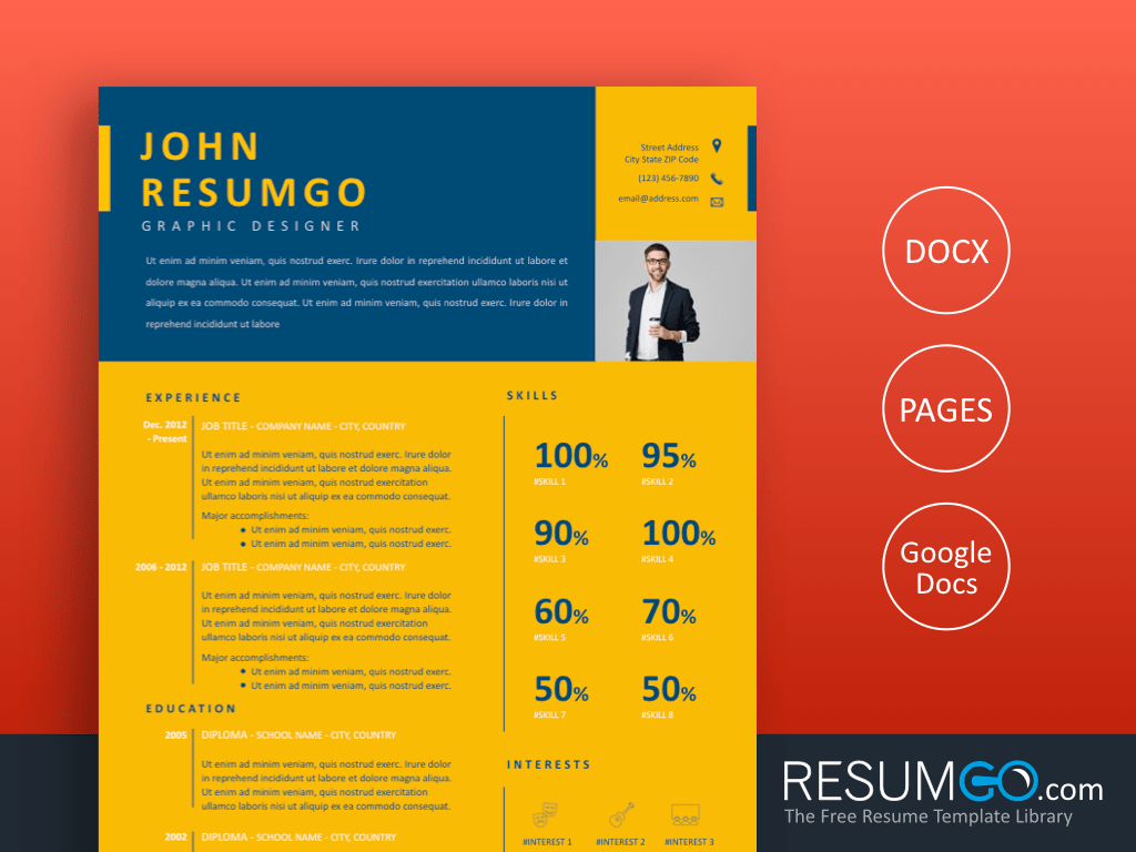 CYANEA - Free Blue Yellow Resume Template - ResumGO