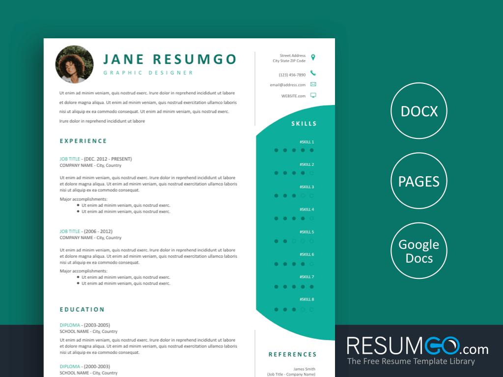 DAMOKLES - Free Modern Professional Resume Template - ResumGO